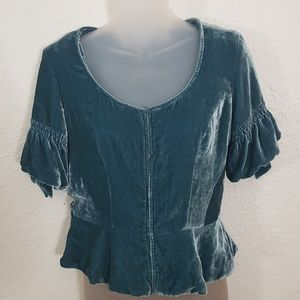 Anthropologie Odille Queen Mary Top Teal Green 6